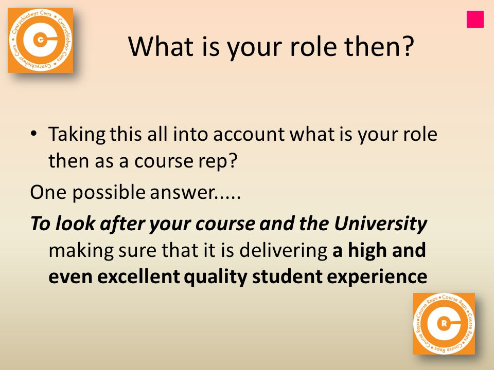 What is your role then. Taking this all into account what is your role then as a course rep.