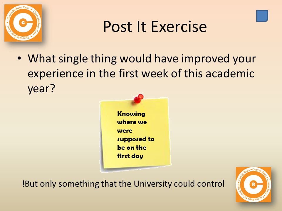 Post It Exercise What single thing would have improved your experience in the first week of this academic year.
