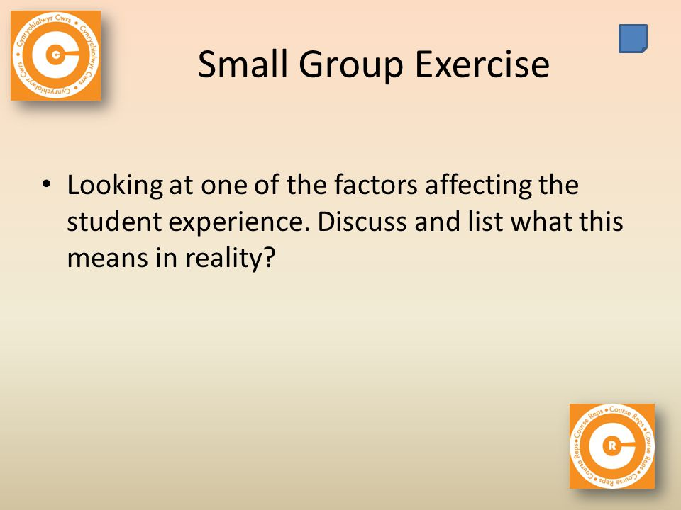 Small Group Exercise Looking at one of the factors affecting the student experience.
