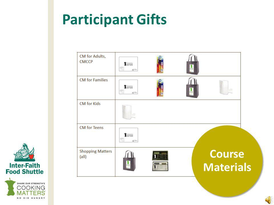 Ordering Course Materials Volunteer and Participant Materials Instructor manuals Participant manuals Participant surveys Participant Enrollment Forms Participant & volunteer waivers Participant graduation gifts Graduation certificates Course Materials