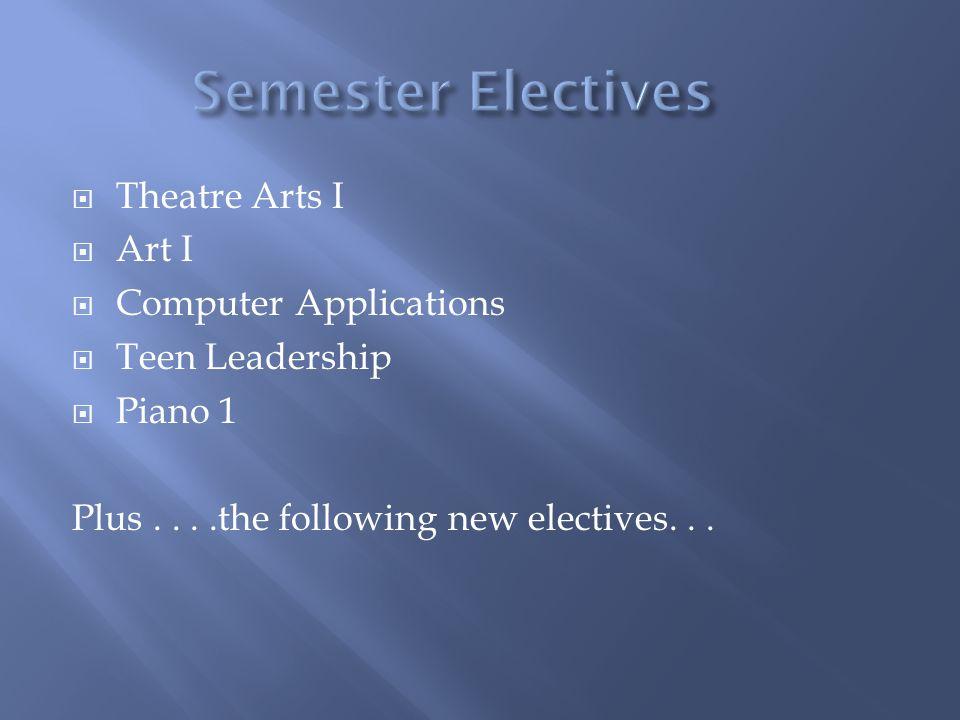 Theatre Arts I Art I Computer Applications Teen Leadership Piano 1 Plus....the following new electives...