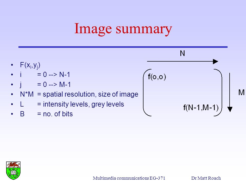 Multimedia communications EG-371Dr Matt Roach Image summary F(x i,y j ) i = 0 --> N-1 j = 0 --> M-1 N*M = spatial resolution, size of image L = intensity levels, grey levels B = no.