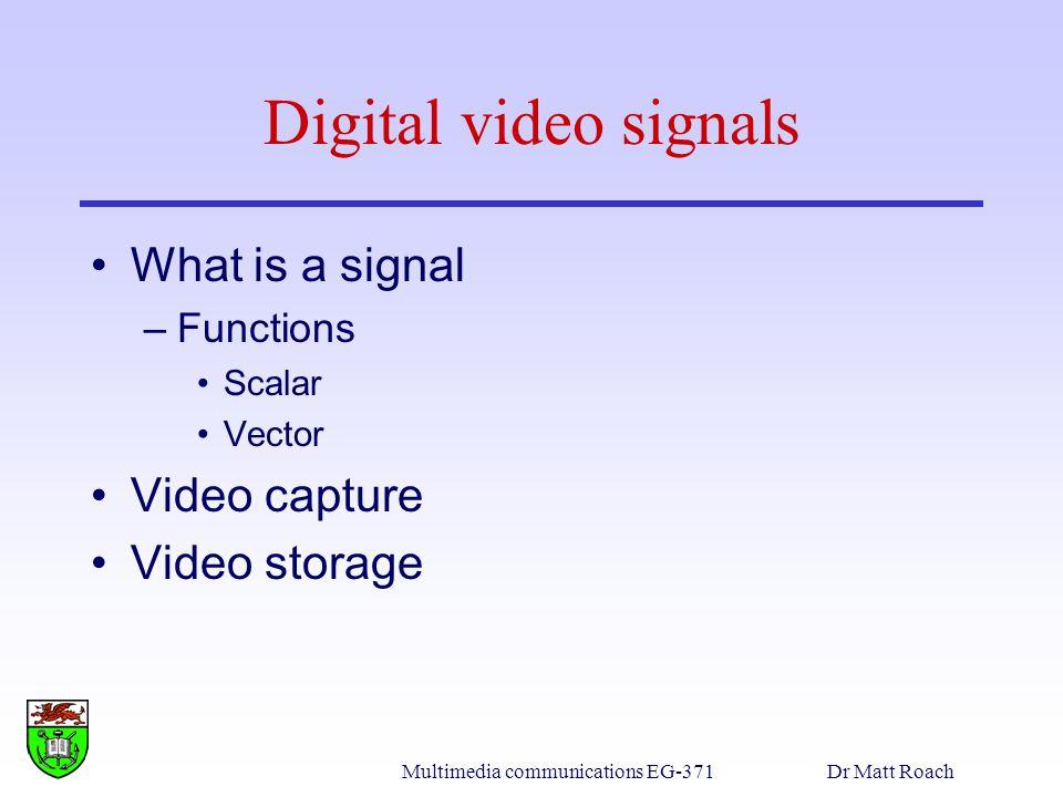Multimedia communications EG-371Dr Matt Roach Fundamentals of compression Data information –Redundancy Compression ratio Types of redundancy –Coding –Inter-pixel –Psyco-visual –Data compression