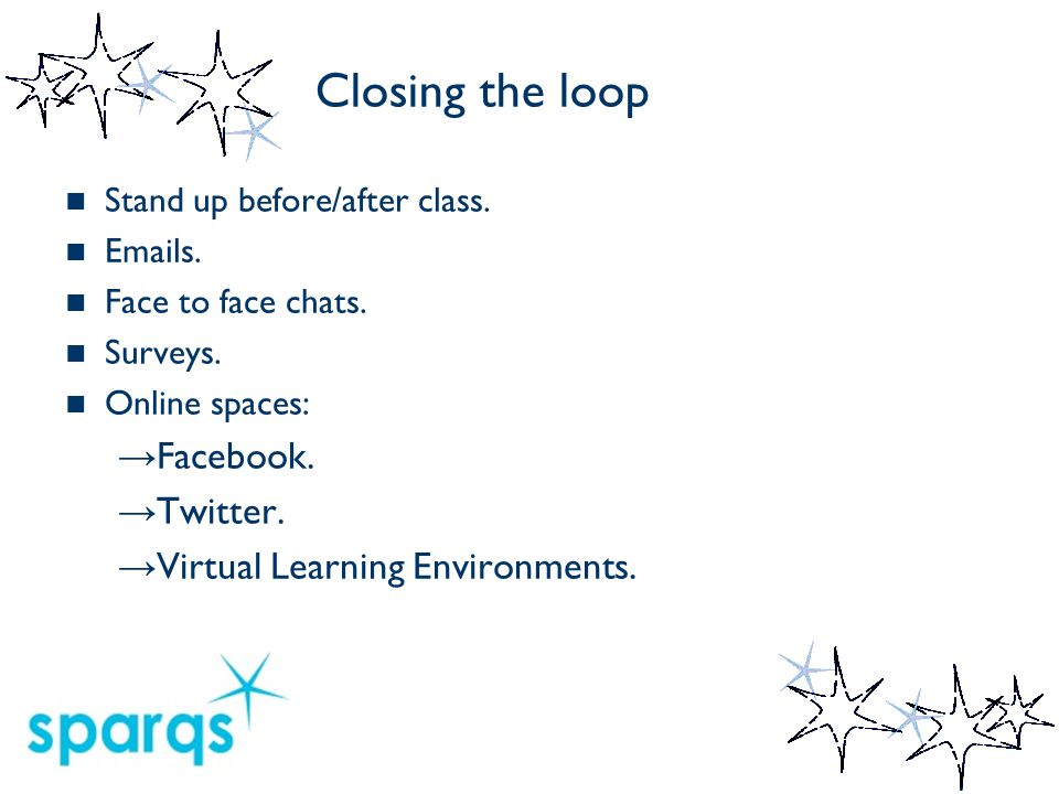 Closing the loop Identify the issue Develop & implement the solution Feedback Dont forget to FEEDBACK what you have achieved!!