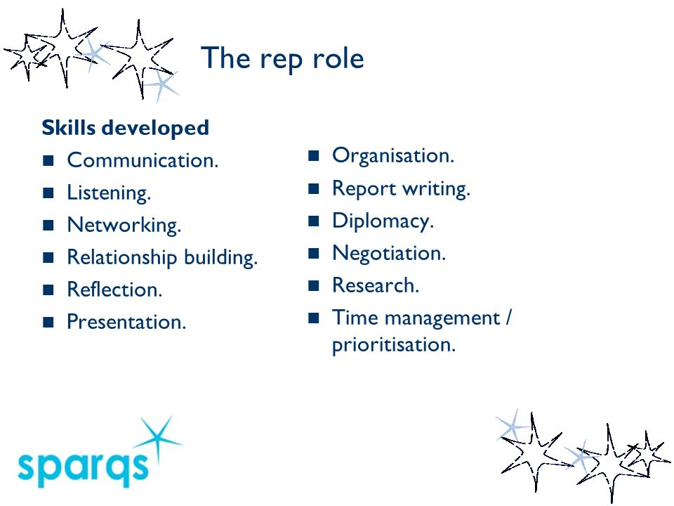 The rep role Tasks Introduce yourself to your class.