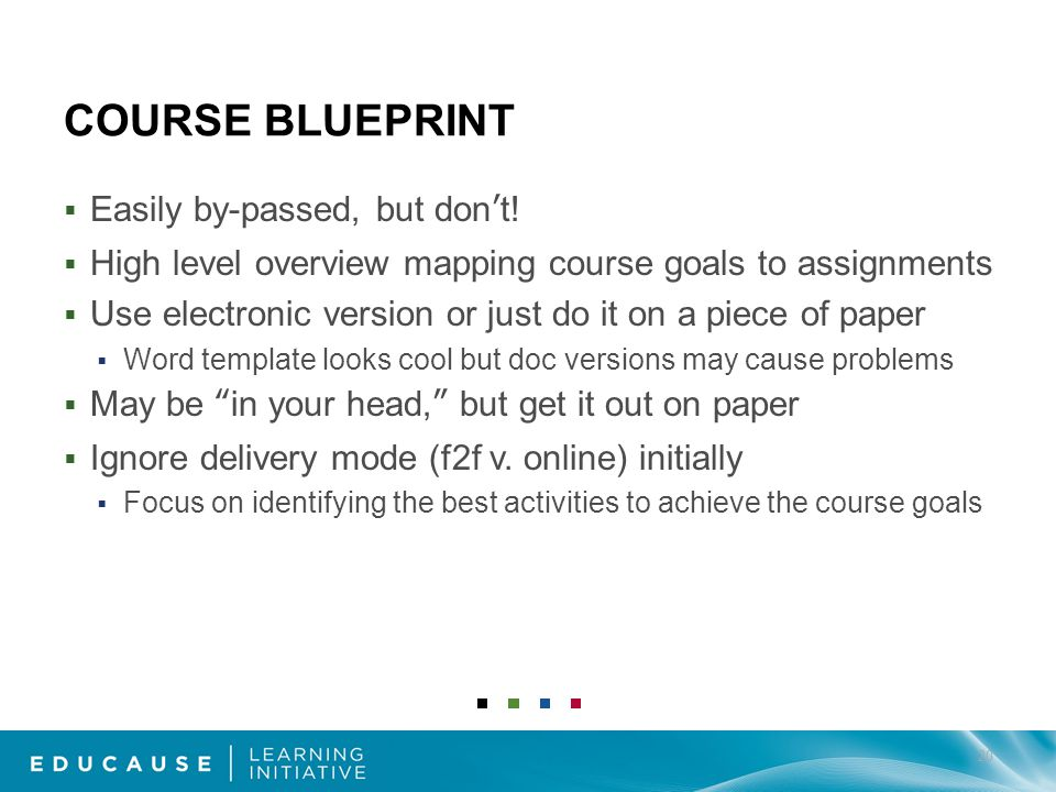 COURSE BLUEPRINT Easily by-passed, but dont.