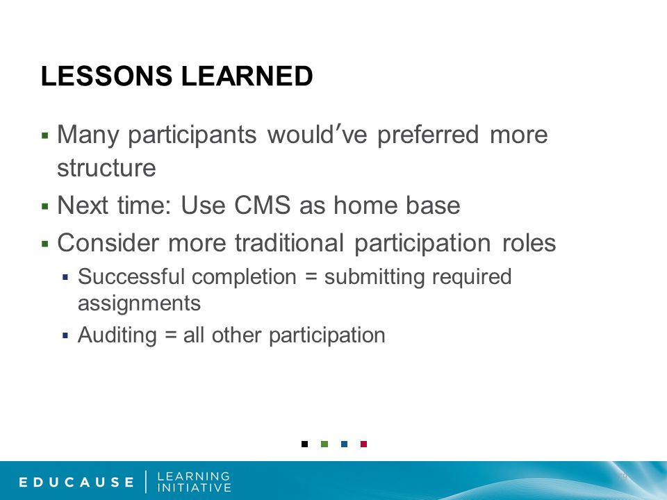LESSONS LEARNED Many participants wouldve preferred more structure Next time: Use CMS as home base Consider more traditional participation roles Successful completion = submitting required assignments Auditing = all other participation 79