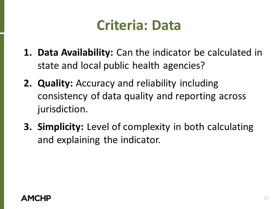 Criteria: Data 1.Data Availability: Can the indicator be calculated in state and local public health agencies? 2.Quality: Accuracy and reliability inc
