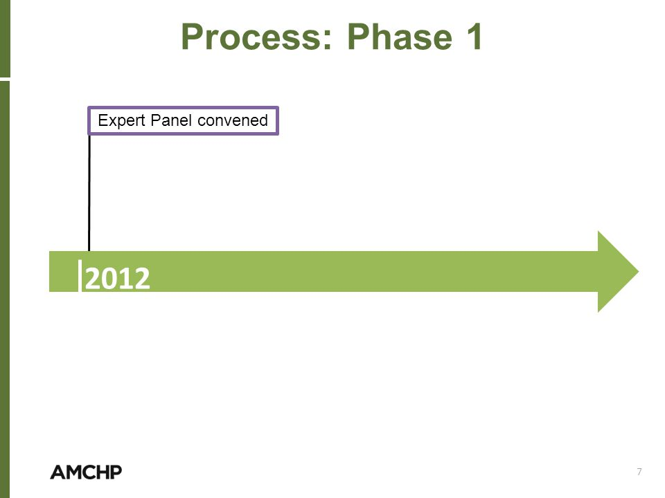 Expert Panel convened Process: Phase 1 2012 7