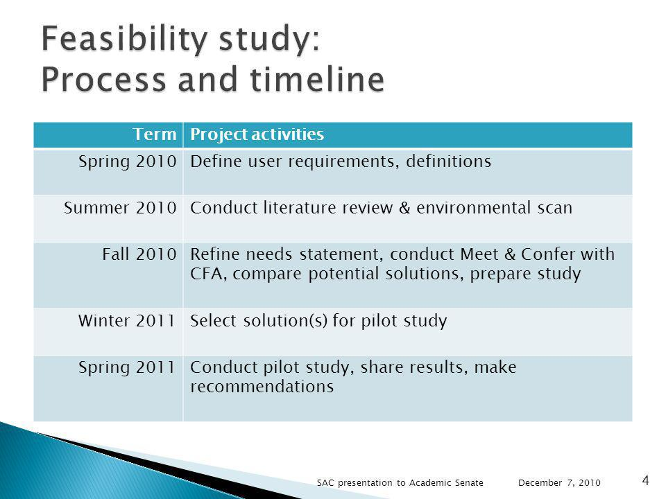 Study explores the potential of online course evaluation solutions to address issues identified by key stakeholders: Accessibility for students with disabilities Parity for fully online classes Cost effectiveness and improved efficiencies December 7, 2010 5 SAC presentation to Academic Senate