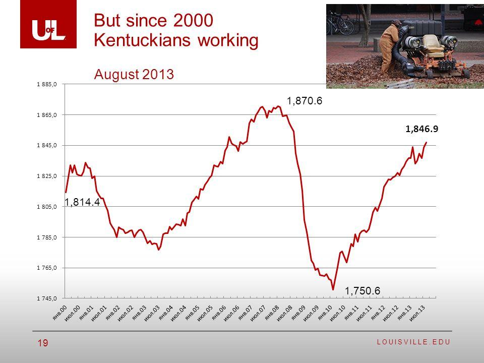 LOUISVILLE.EDU 19 But since 2000 Kentuckians working August 2013