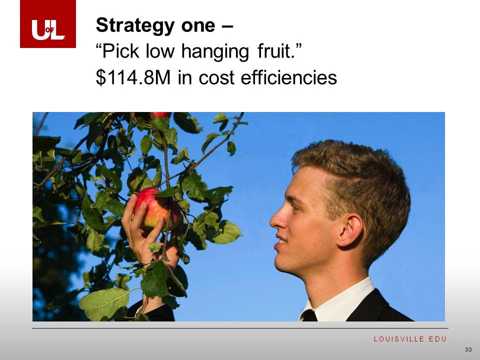 LOUISVILLE.EDU 30 Strategy one – Pick low hanging fruit. $114.8M in cost efficiencies