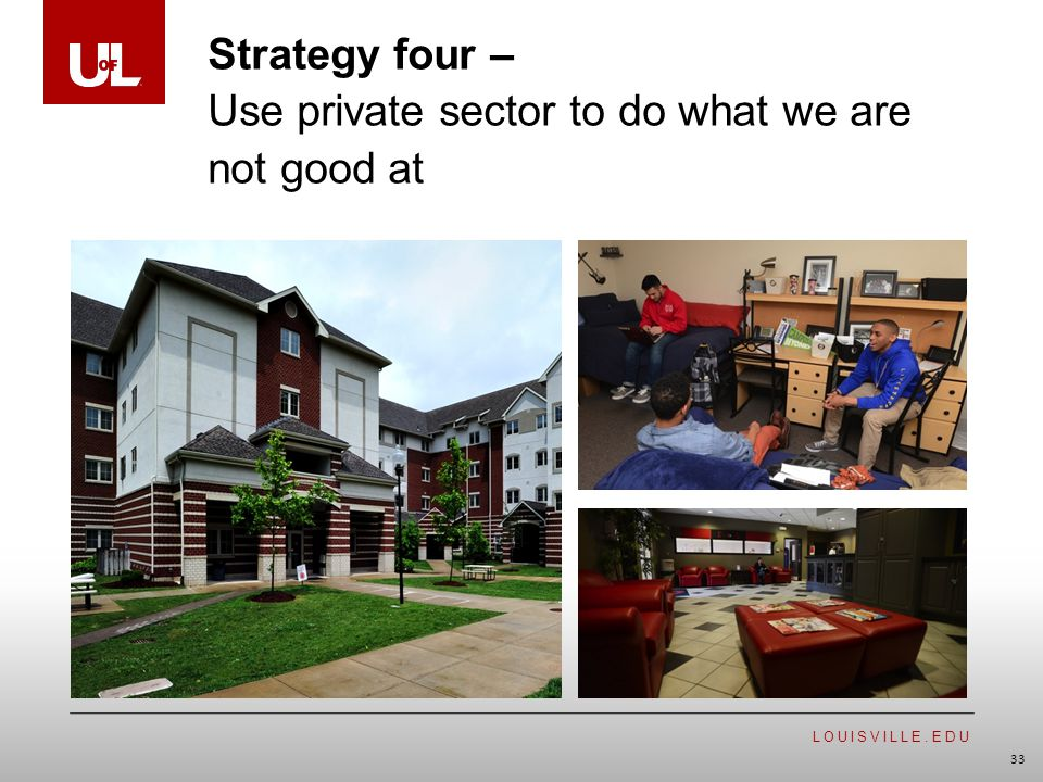 LOUISVILLE.EDU 33 Strategy four – Use private sector to do what we are not good at