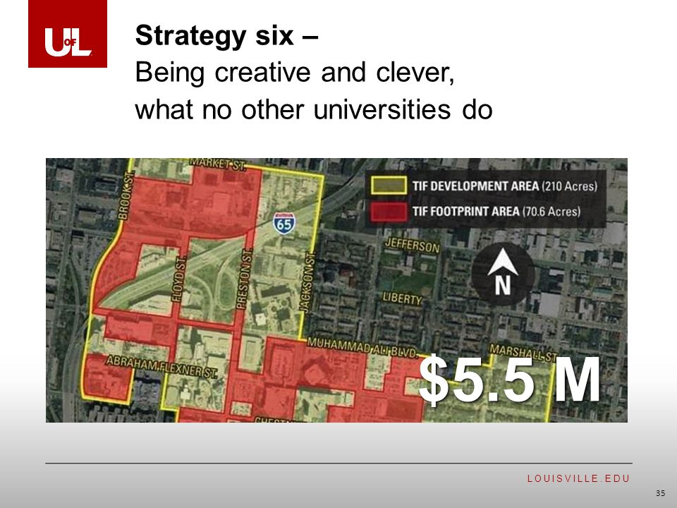 LOUISVILLE.EDU 35 $5.5 M Strategy six – Being creative and clever, what no other universities do