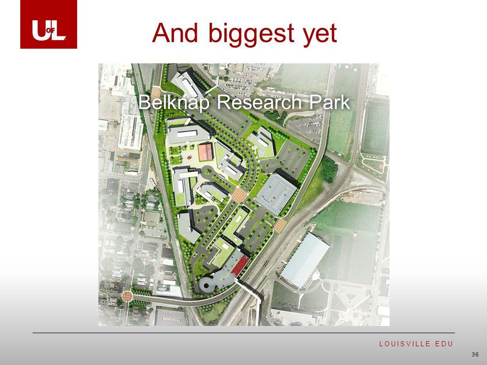 LOUISVILLE.EDU 36 And biggest yet Belknap Research Park