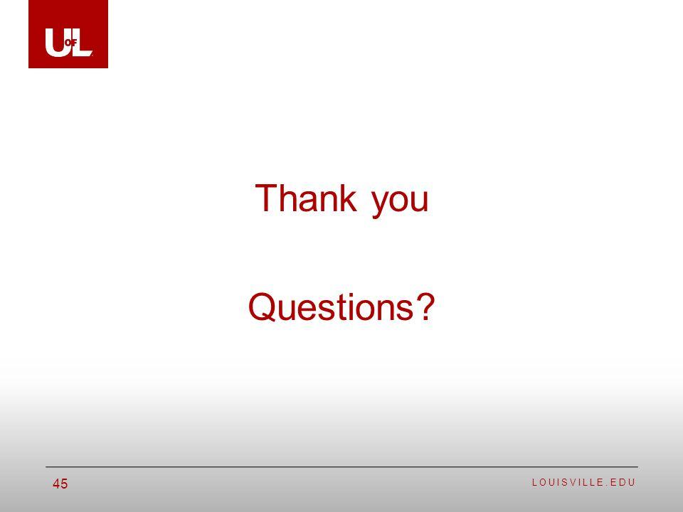 LOUISVILLE.EDU 45 Thank you Questions?