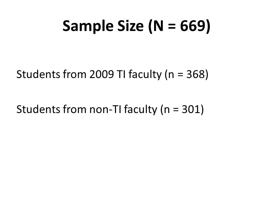 Sample Size (N = 669) Students from 2009 TI faculty (n = 368) Students from non-TI faculty (n = 301)
