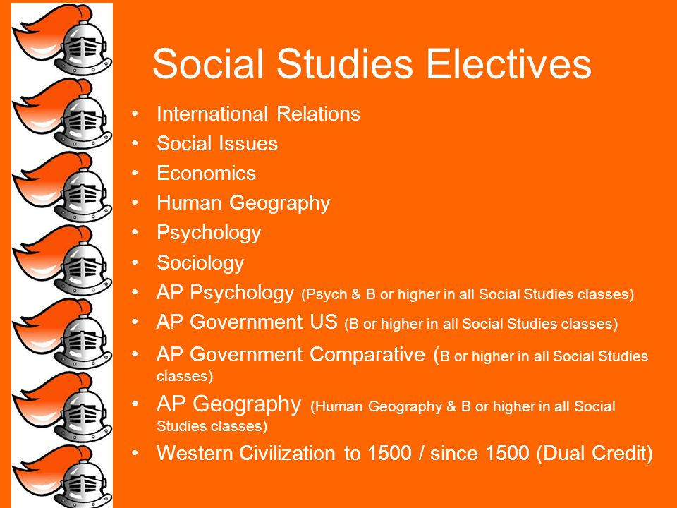 Social Studies Electives International Relations Social Issues Economics Human Geography Psychology Sociology AP Psychology (Psych & B or higher in all Social Studies classes) AP Government US (B or higher in all Social Studies classes) AP Government Comparative ( B or higher in all Social Studies classes) AP Geography (Human Geography & B or higher in all Social Studies classes) Western Civilization to 1500 / since 1500 (Dual Credit)