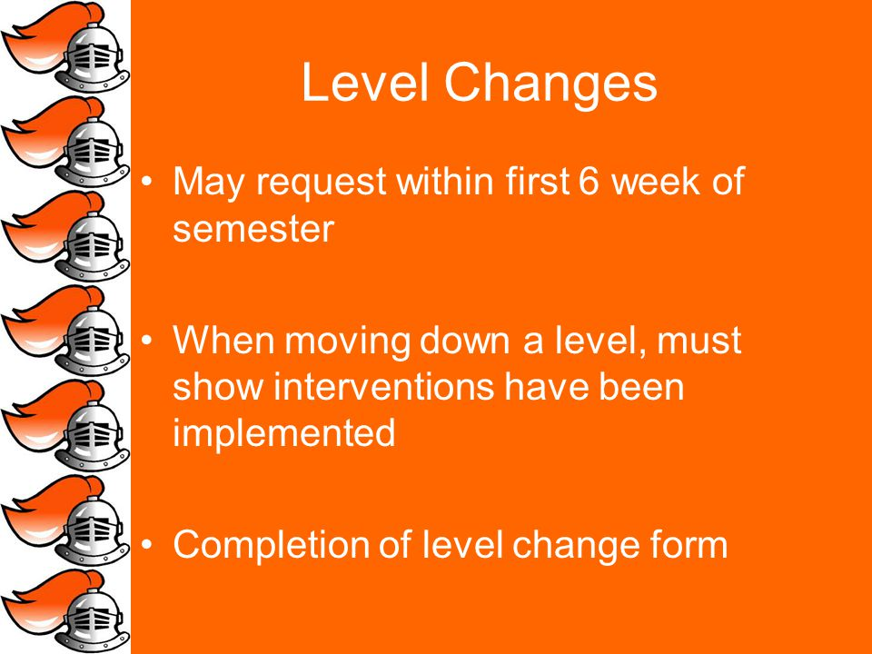Level Changes May request within first 6 week of semester When moving down a level, must show interventions have been implemented Completion of level change form