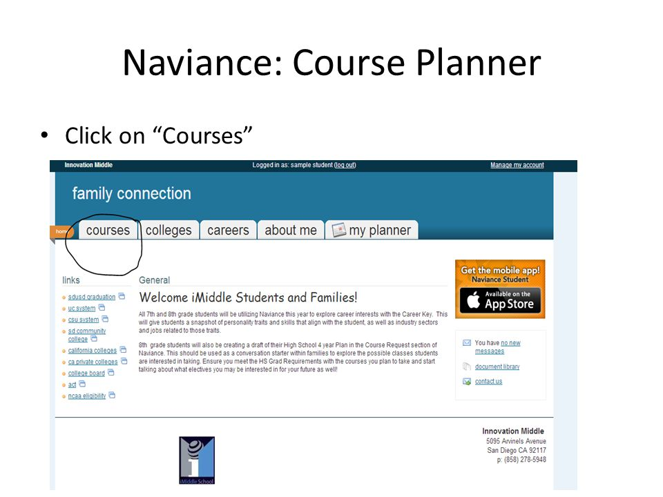 Naviance: Course Planner Click on Courses