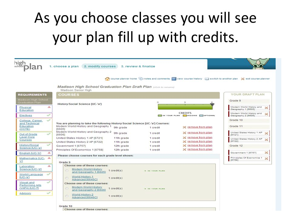 As you choose classes you will see your plan fill up with credits.