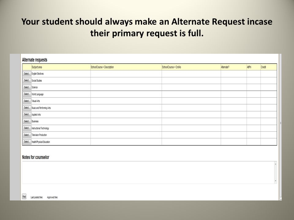 Your student should always make an Alternate Request incase their primary request is full.