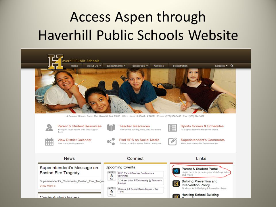 Access Aspen through Haverhill Public Schools Website