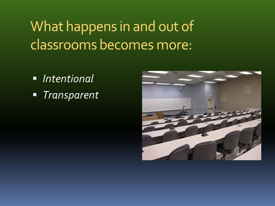 What happens in and out of classrooms becomes more: Intentional Transparent evidence-based