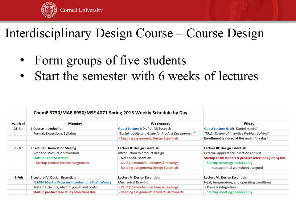 Form groups of five students Start the semester with 6 weeks of lectures Interdisciplinary Design Course – Course Design