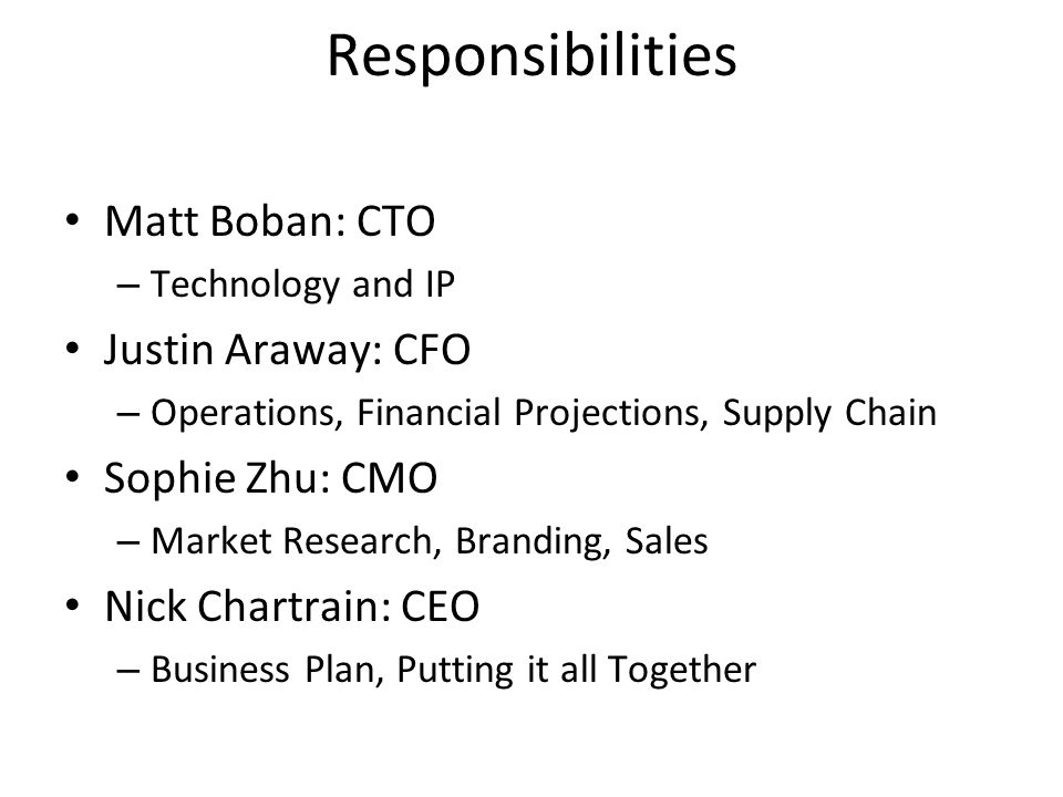 Responsibilities Matt Boban: CTO –Technology and IP Justin Araway: CFO –Operations, Financial Projections, Supply Chain Sophie Zhu: CMO –Market Research, Branding, Sales Nick Chartrain: CEO –Business Plan, Putting it all Together 2