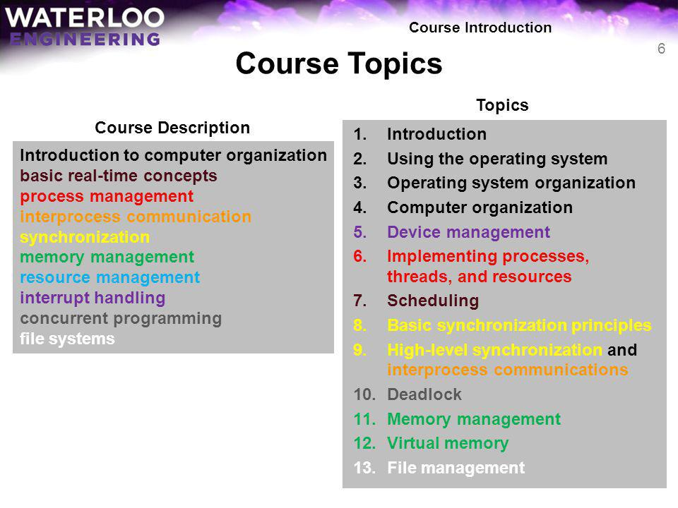 Course Topics 1.Introduction 2.Using the operating system 3.Operating system organization 4.Computer organization 5.Device management 6.Implementing p