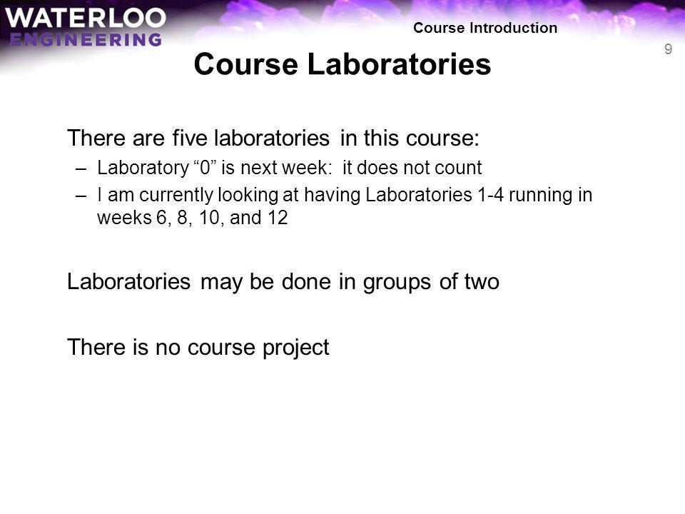 Course Laboratories There are five laboratories in this course: –Laboratory 0 is next week: it does not count –I am currently looking at having Labora