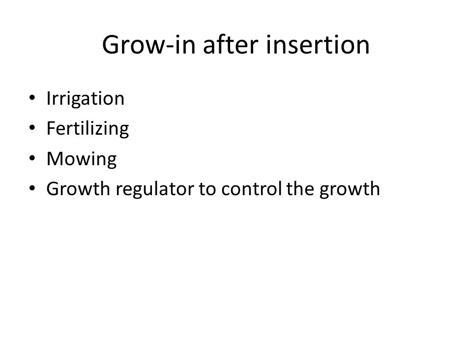 Grow-in after insertion Irrigation Fertilizing Mowing Growth regulator to control the growth