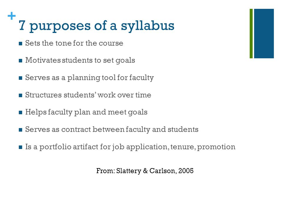 + 7 purposes of a syllabus Sets the tone for the course Motivates students to set goals Serves as a planning tool for faculty Structures students work over time Helps faculty plan and meet goals Serves as contract between faculty and students Is a portfolio artifact for job application, tenure, promotion From: Slattery & Carlson, 2005