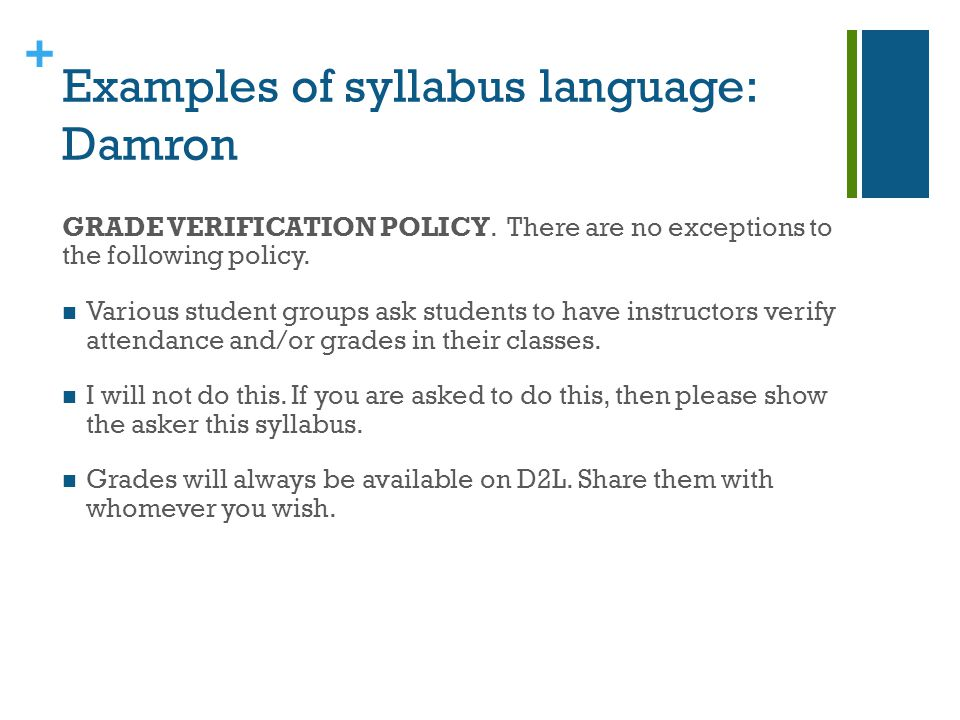 + The syllabus as a teaching tool It can be more than a standard contractperhaps a compact.