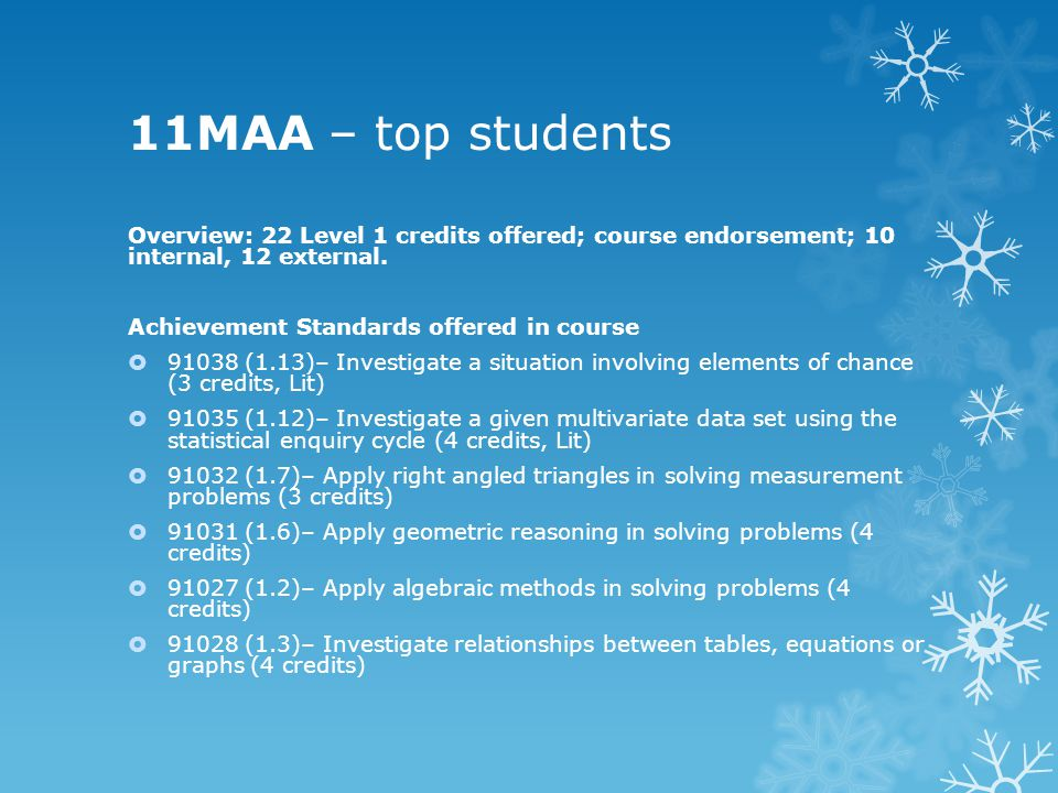 11MAA – top students Overview: 22 Level 1 credits offered; course endorsement; 10 internal, 12 external.