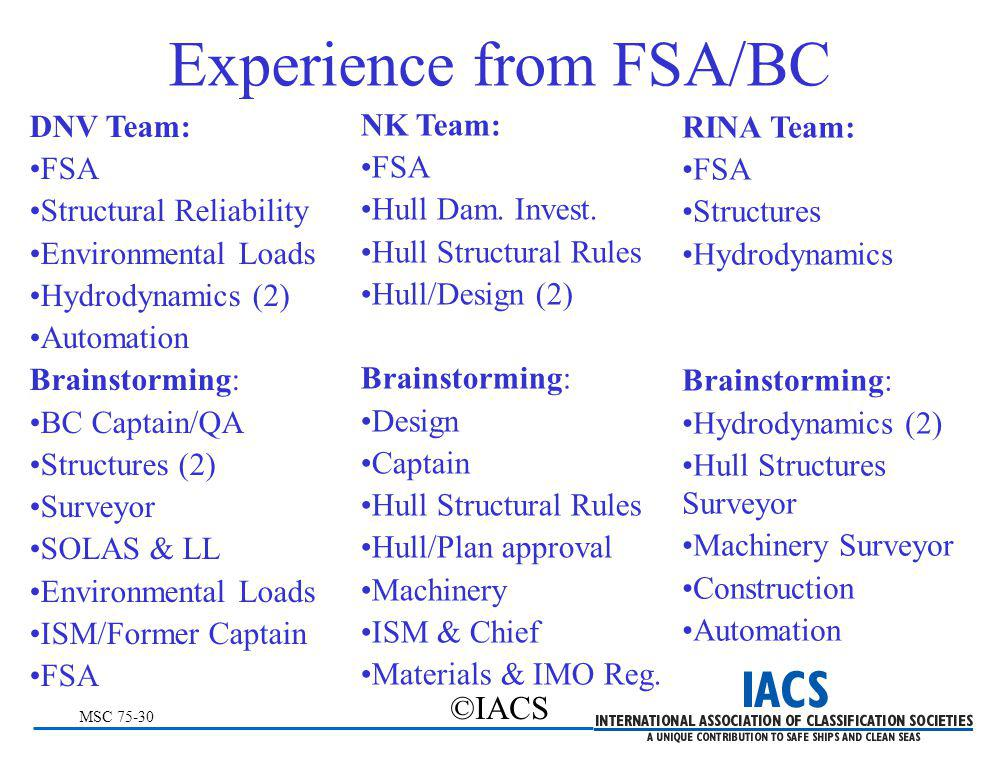 MSC 75-30 ©IACS Experience from FSA/BC DNV Team: FSA Structural Reliability Environmental Loads Hydrodynamics (2) Automation Brainstorming: BC Captain