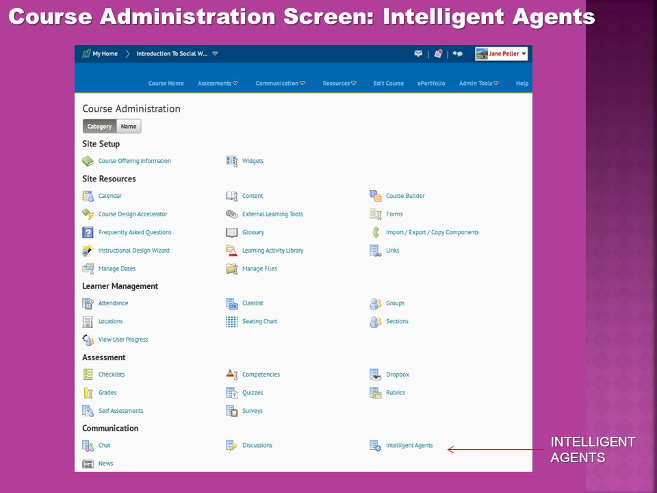 Course Administration Screen: Intelligent Agents INTELLIGENT AGENTS