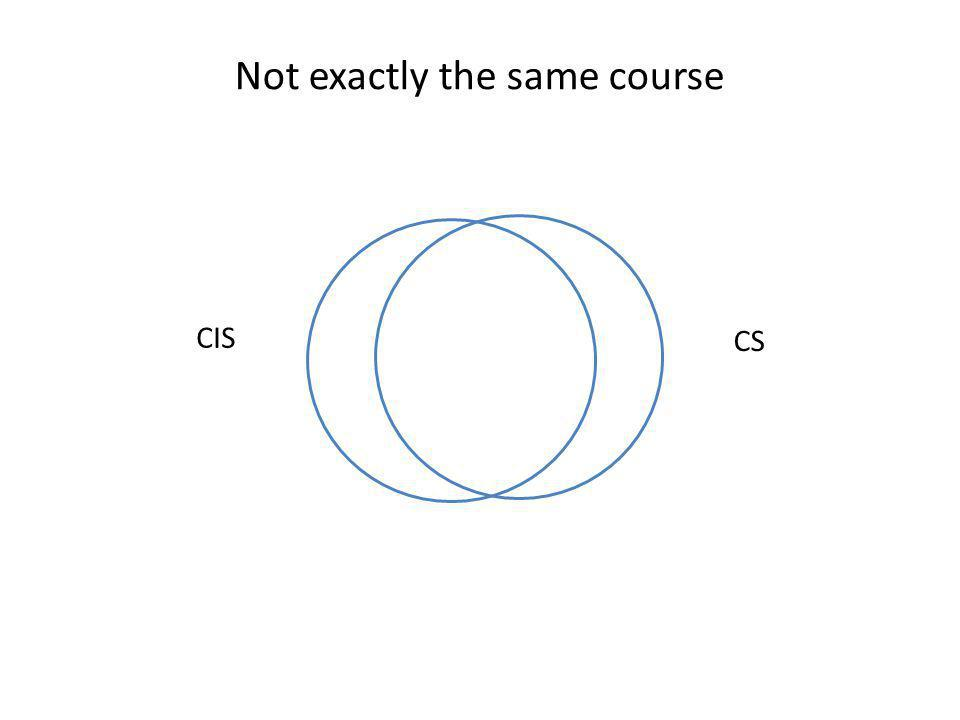 CIS CS Not exactly the same course