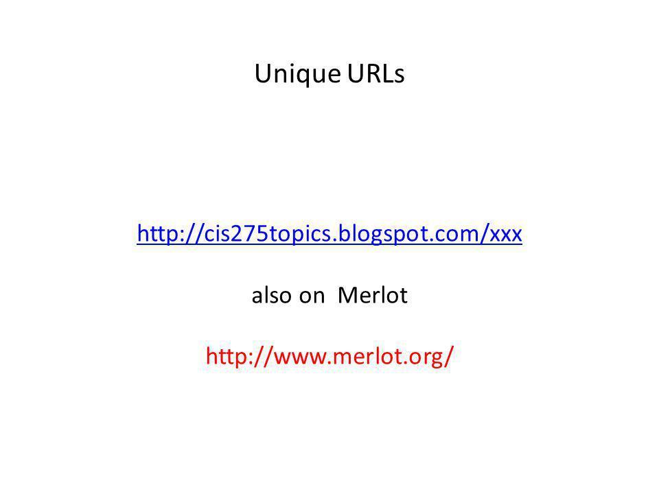 http://cis275topics.blogspot.com/xxx also on Merlot http://www.merlot.org/ Unique URLs