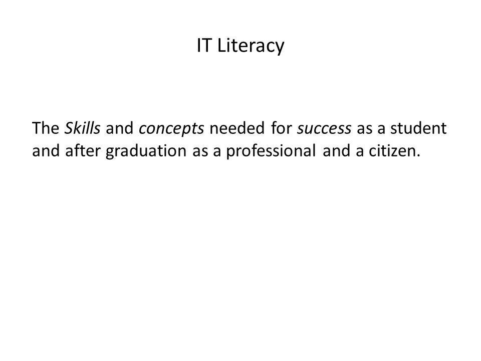 IT Literacy The Skills and concepts needed for success as a student and after graduation as a professional and a citizen.