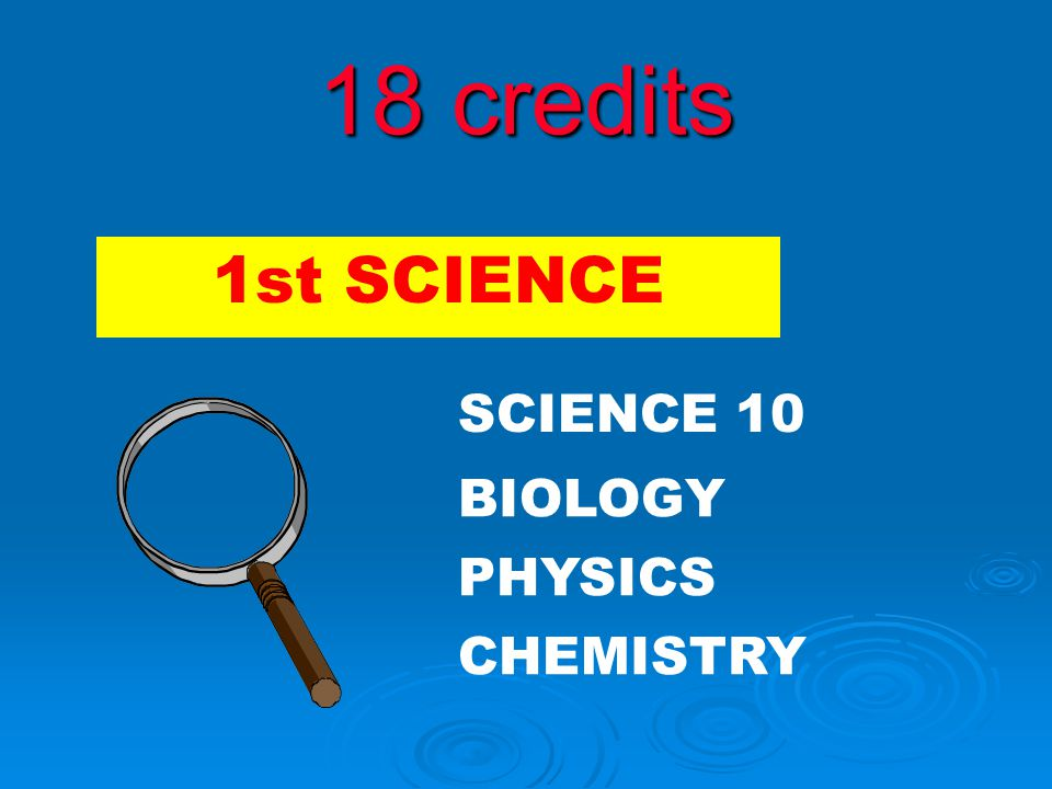 18 credits 2 SCIENCES
