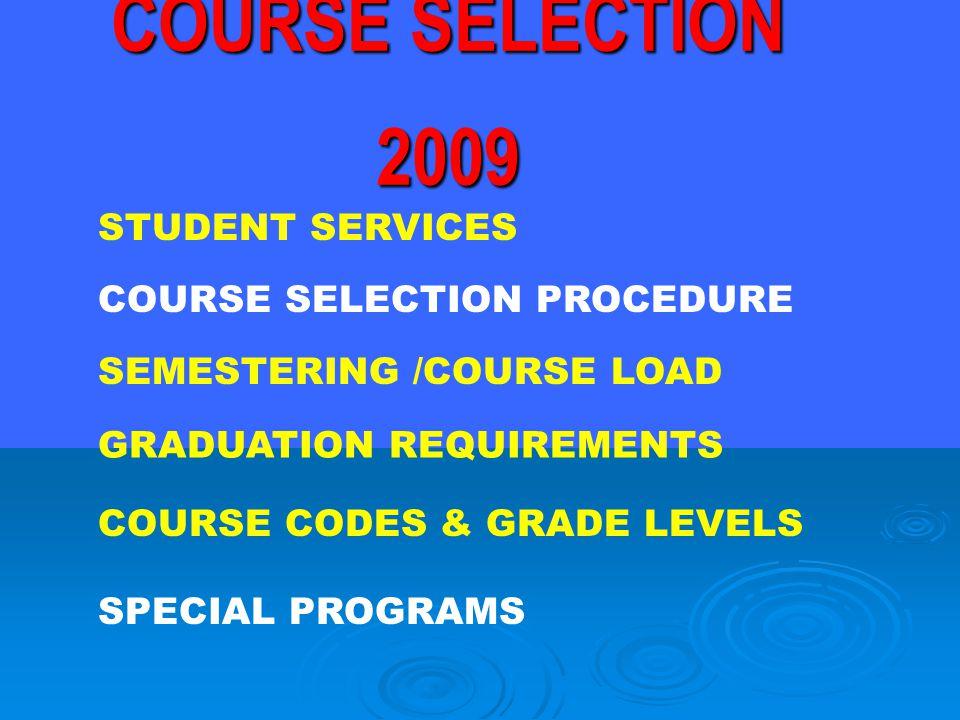 STUDENT SERVICES SEMESTERING /COURSE LOAD GRADUATION REQUIREMENTS COURSE CODES & GRADE LEVELS COURSE SELECTION PROCEDURE SPECIAL PROGRAMS