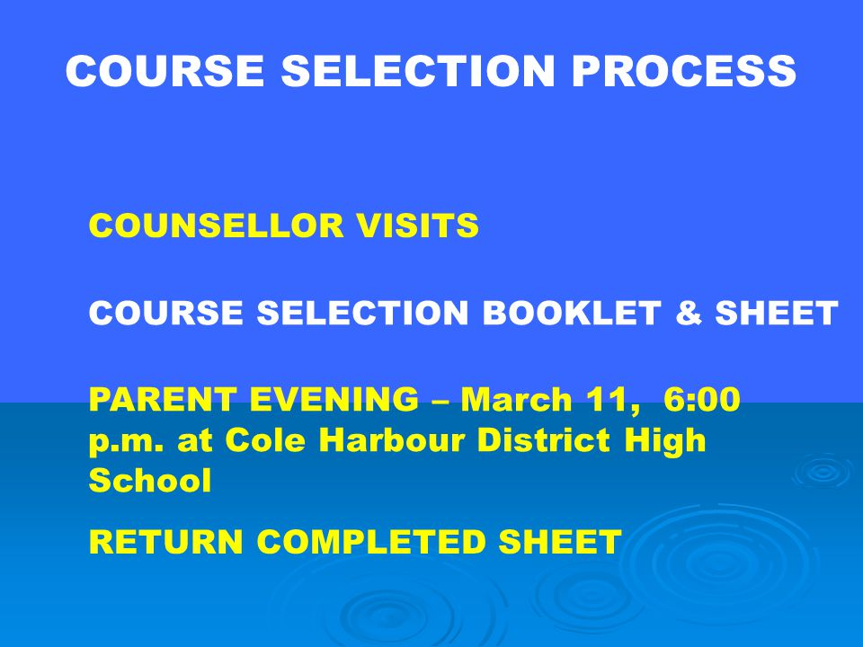 PART TWO COURSE SELECTION 2009-2010