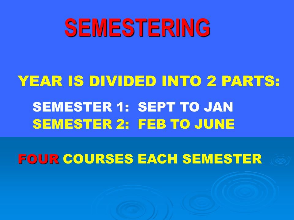 SEMESTERING YEAR IS DIVIDED INTO 2 PARTS: SEMESTER 2: FEB TO JUNE FOUR COURSES EACH SEMESTER SEMESTER 1: SEPT TO JAN
