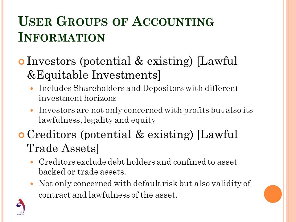 U SER G ROUPS OF A CCOUNTING I NFORMATION Investors (potential & existing) [Lawful &Equitable Investments] Includes Shareholders and Depositors with d