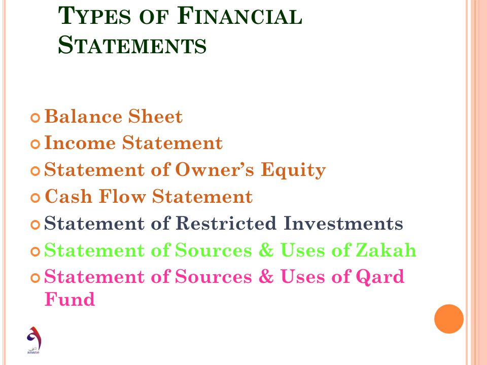 T YPES OF F INANCIAL S TATEMENTS Balance Sheet Income Statement Statement of Owners Equity Cash Flow Statement Statement of Restricted Investments Sta