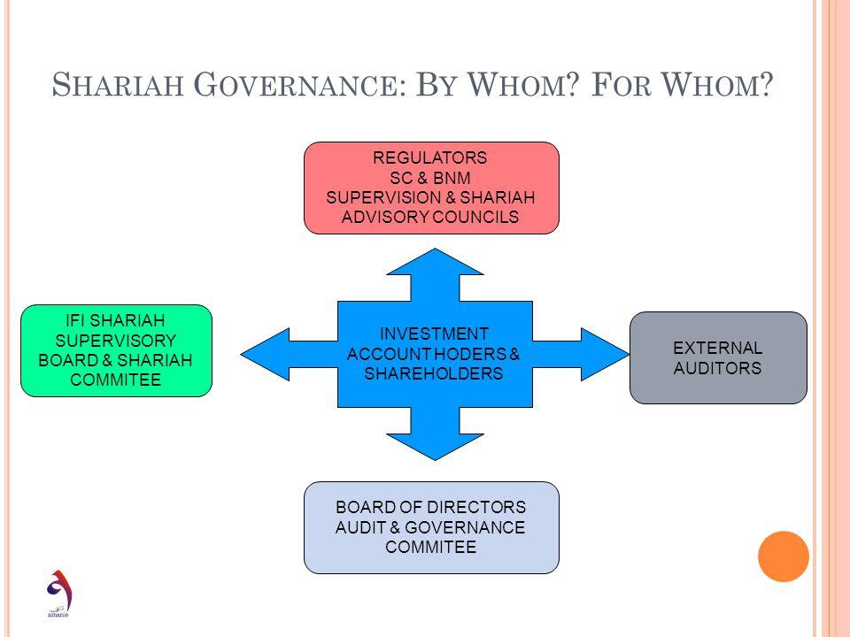 S HARIAH G OVERNANCE : B Y W HOM ? F OR W HOM ? INVESTMENT ACCOUNT HODERS & SHAREHOLDERS REGULATORS SC & BNM SUPERVISION & SHARIAH ADVISORY COUNCILS B