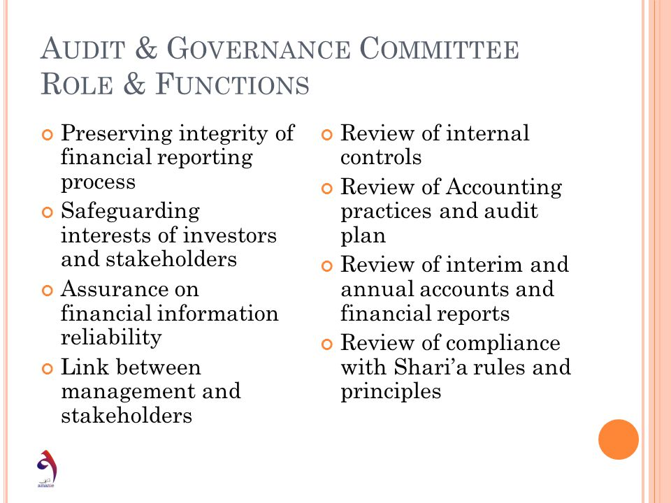 A UDIT & G OVERNANCE C OMMITTEE R OLE & F UNCTIONS Preserving integrity of financial reporting process Safeguarding interests of investors and stakeho