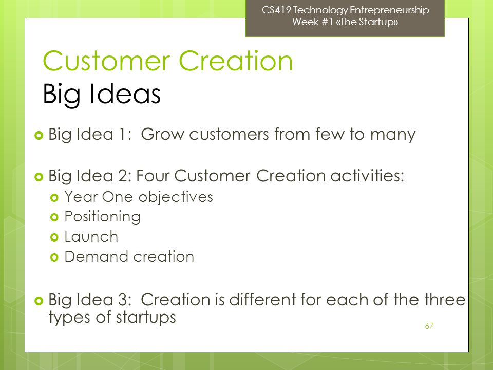 67 Customer Creation Big Ideas Big Idea 1: Grow customers from few to many Big Idea 2: Four Customer Creation activities: Year One objectives Positioning Launch Demand creation Big Idea 3: Creation is different for each of the three types of startups CS419 Technology Entrepreneurship Week #1 «The Startup»